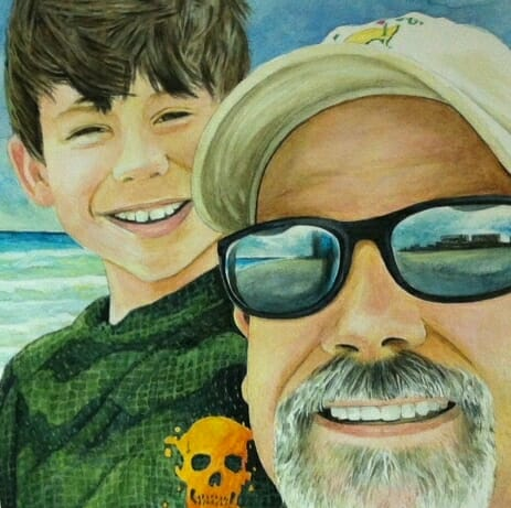 Marshall Atkinson Watercolor - Dad & Jack